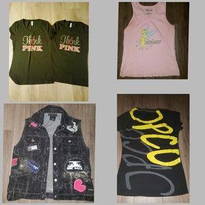 5 women tshirts rhinestones, patched vest S+M